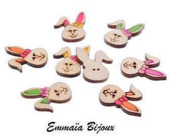 6 buttons 23 x 18 mm wooden rabbits