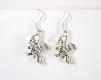 Charm silver plated dragon earrings