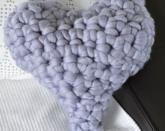 Handmade crochet heart cushion