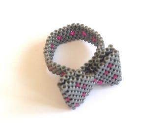 Ring trend with knot weaving beads miyuki-grey and fuchsia.