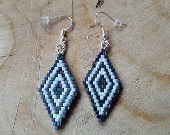 Earrings on 925 sterling silver peyote miyuki cubes.