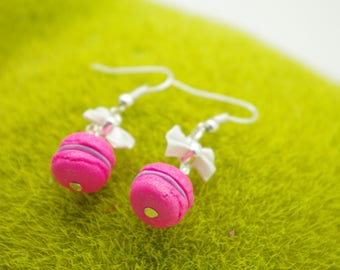 NEON pink macarons in polymer clay earrings