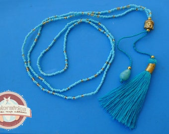 ethnic necklace in turquoise blue glass tassel and Buddha gold
