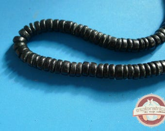 20 ethnic 3x8mm black wooden rondelle beads
