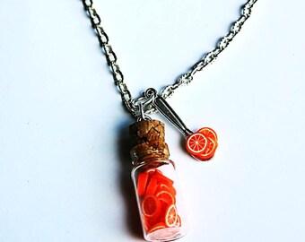 fruity fimo orange vial necklace