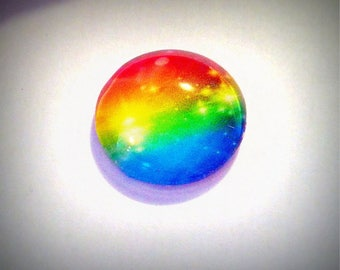 Multicolor cabochon, glass round 20mm, red blue yellow green
