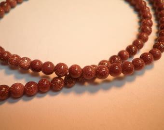 20 glittery Brown Sunstone beads Gold 4 mm