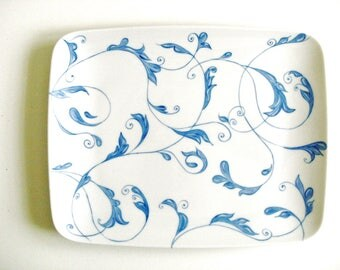 Serving dish, porcelain blue and white modern, chic modern. Mothers day gift.