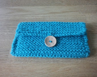 Turquoise double knit purse