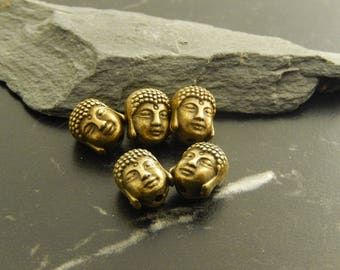 5 Bronze Buddha head beads