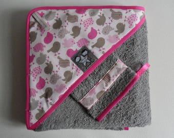 Set bath cape + gray glove, thick towel and fabric birds.