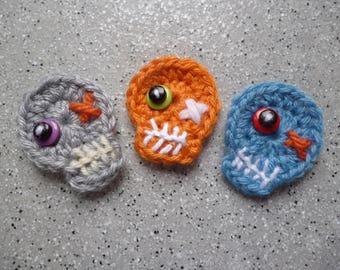 Lot de 3 Têtes de mort en laine au crochet réalisées à la main, appliqué tête de mort, customisation, scrapbooking, crochet, tricot