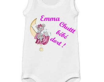 Tank Shsh baby Bodysuit comes personalized with name