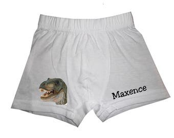 White dinosaur boy shorts personalized with name