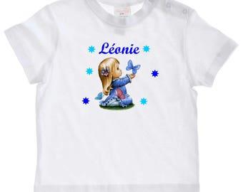tee shirt bébé Petite fille et papillon personnalisé avec prénom
