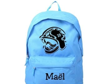 bag has blue personalized name with fireman helmet