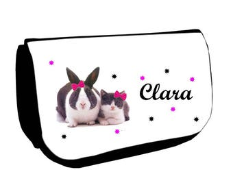 Clutch black makeup /crayons cat and rabbit personalized with name