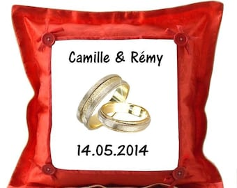 Red pillow wedding personalized with name