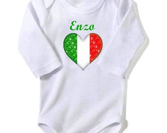 Italy flag personalized with name baby Bodysuit