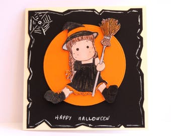sweet little witch Halloween card. hand made