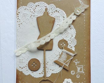 Card spirit couture, vintage. Hand made. White and kraft