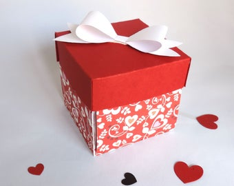 explosion, marriage, love, Valentine box. Red and white. hand made