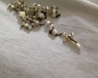 Antique Rosary mother of Pearl and sterling silver