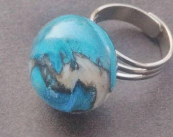 Turquoise and white Lampwork Glass ring