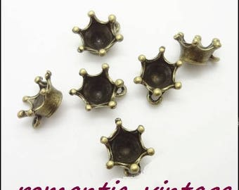 10 charms, charms, flower crimp bronze 13 * 10 mm approx.