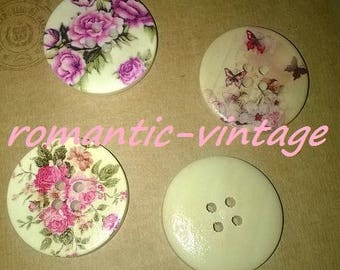 6 buttons vintage style, flowers and butterflies, large wooden 30mm
