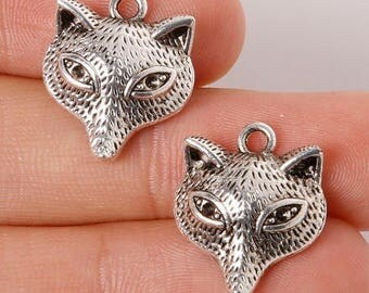 5 dangles, charms antique Silver Fox head, 18 * 16mm (approx.)
