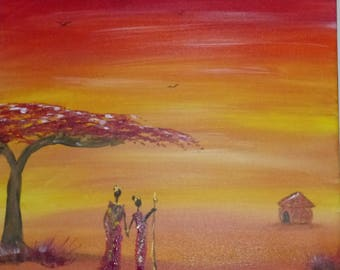 Paysage africain etsy - Tableau couleur chaude ...