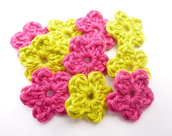 Lime green flowers and mini Rose Fuchsia crocheted 100% cotton-set of 10