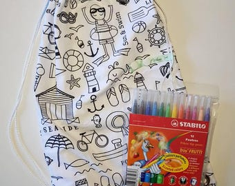 Backpack, snack bag, pool coloring bag.