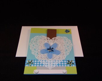 Handmade card and envelope birthday boy