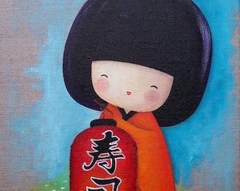 Acrylic painting on canvas: Kimiko on the Lantern (kokeshi)