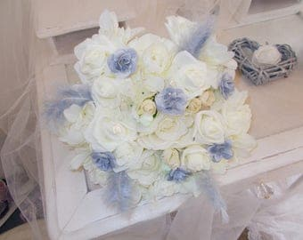 Ivory and grey Pearl bridal bouquet