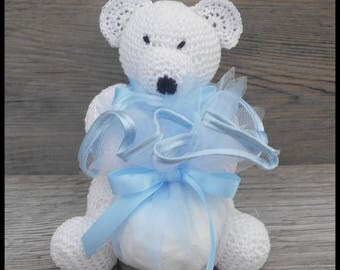 10 door sweets, white and blue Teddy bear crochet for baptism