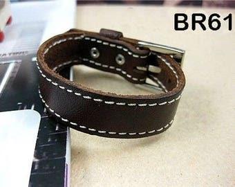 Bracelet 100% leather length 20 cm charms - BR61 savannah