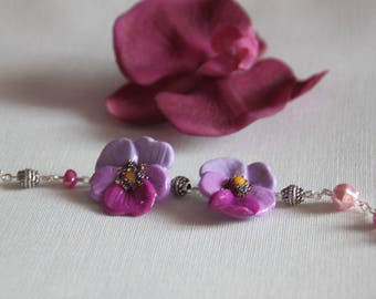 pansies and beads on silver plated chain