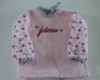 Terry personalized bib, long sleeves made of fabric