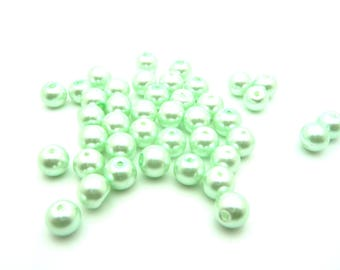 Glass beads Pearl lime green 8mm x 20