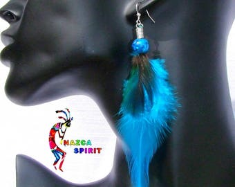 Native American pierced coloured feathers and natural feathers pendants