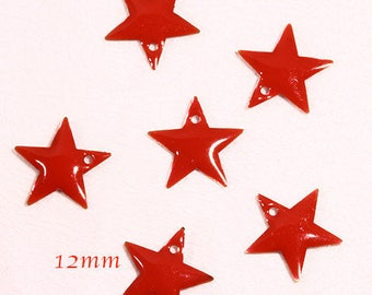 6 sequins star enamel brass 12mm Red