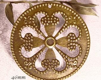 prints 6 round 46mm bronze filigree flower