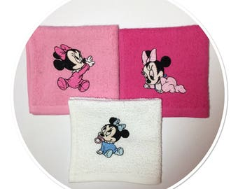 Napkins cotton baby pink and white sponge embroidered Minnie