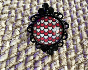 Black floral ring hearts B6