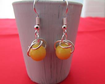 Jade bead earrings