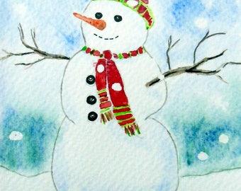 "Postcard ""snowman snow"" card, original watercolor painting"
