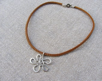 crew neck camel leather rope and flower pendant silver, minimalist necklace